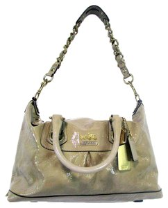 Coach Leather Purse Chain Satchel in Beige