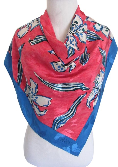 """Item - Turquoise Pink Wow Jacquard Large Silk // 34"""" Inch 88cm Square Scarf/Wrap"""