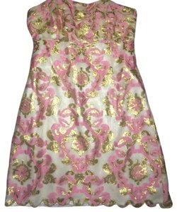 Lilly Pulitzer Strapless Gold Pink Scalloped Dress
