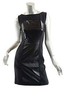 MILLY 5f Bergdorf Goodman Poly Blend Sheath Wleather Dress