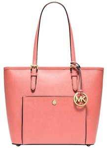 Michael Kors Jet Set Item Snap Pocket Pale Tote in grapefruit Pink gold tone