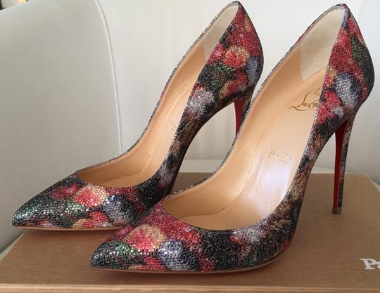Christian Louboutin Glitter Classics Pigalle Red Bottoms Multicolor Pumps Image 9
