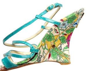 Casadei Wedge Sandals Green Floral Wedges