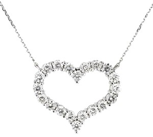 Other 14K White Gold 2.90Ct Diamond Heart Pendant Necklace 6.5 Grams 16