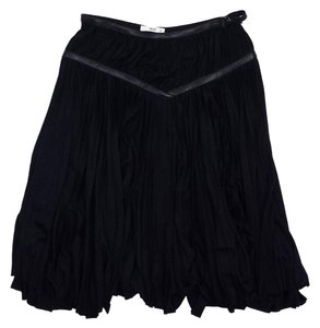 Prada Black Pleated Silk Leather Trim Skirt