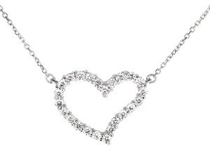 Other 14K White Gold 0.50Ct Diamond Heart Pendant Necklace 2.7 Grams 16
