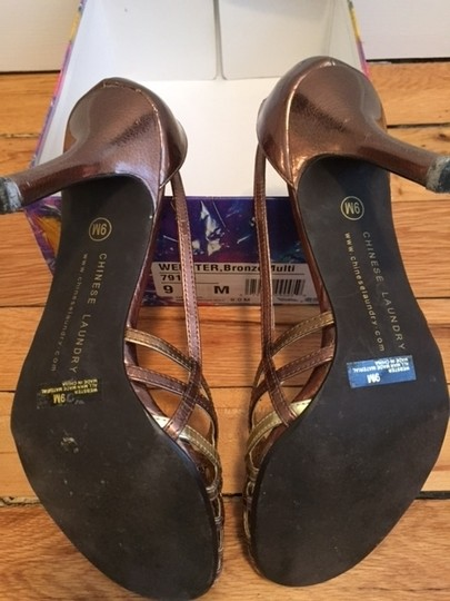Chinese Laundry Leather Strappy Bronze Multi Sandals