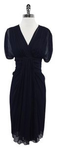 Diane von Furstenberg Navy Gathered Chiffon Dress