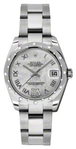 Rolex Rolex New Style Pre Owned Datejust Steel and White Gold Mother of Pearl Roman Diamond Dial 31mm