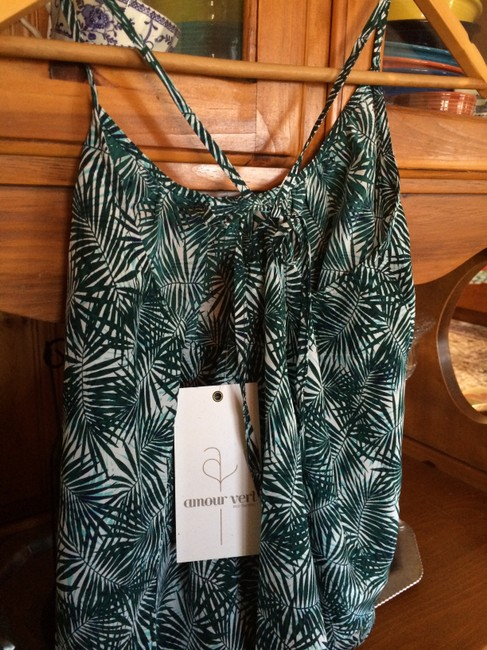 Amour Vert Eco Chic Silk Going Out Print Spaghetti Flowy Top green multi