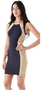 David Lerner Leather Colorblock Jersey Dress