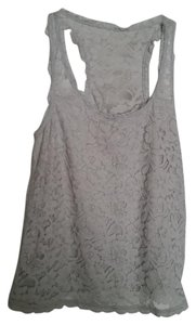 Abercrombie & Fitch Racer-back Lace Lace Trim Top Grey