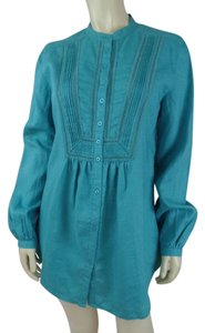 Tyler Boe Linen 6 Peasant New Top Aqua