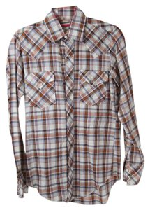 Mustang Brand Shirt Snap Buttons Button Down Shirt Brown and White Flannel