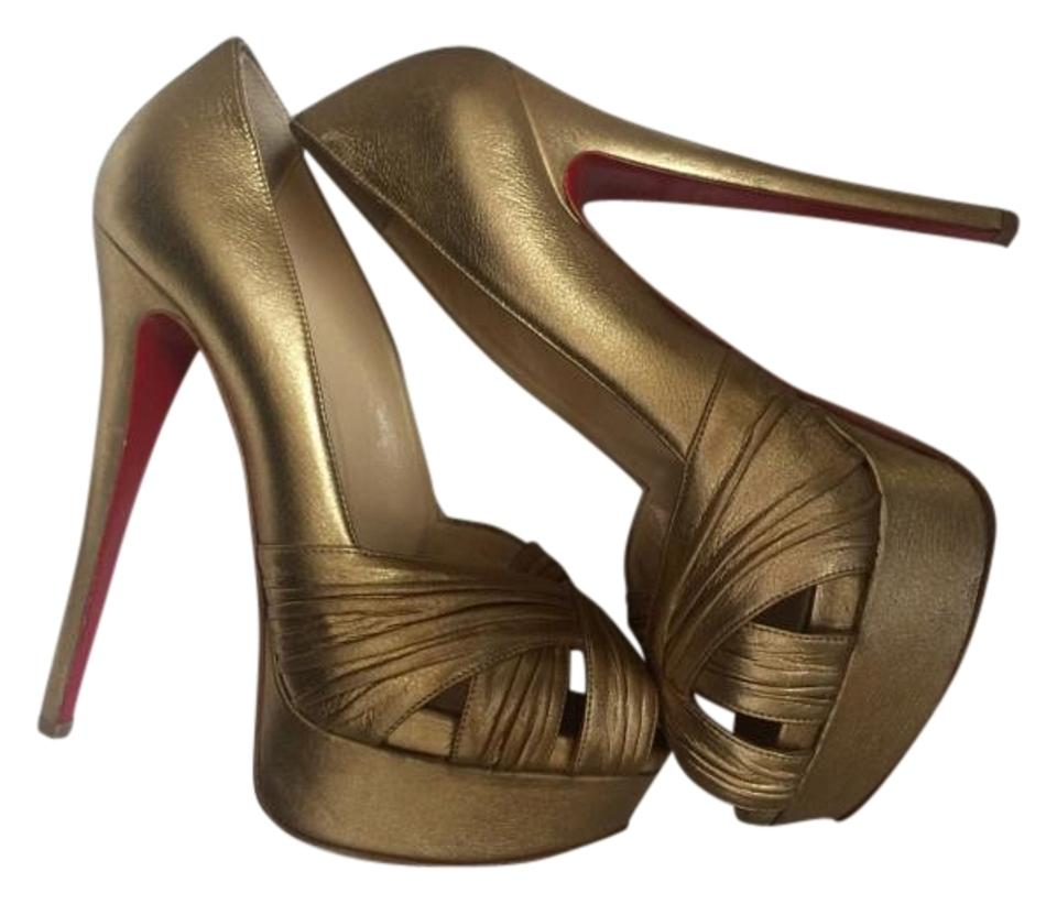 Christian Gold Louboutin Gold Christian Aborina Calf Lame Pumps 5e2f65