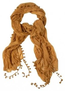 Modcloth Pom and Dance Scarf in Mustard