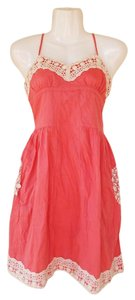 Urban Outfitters short dress coral, white Crochet Coral Pocket on Tradesy