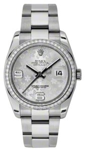 Rolex Rolex PreOwned Datejust Steel and White Gold Silver Floral Arabic Dial
