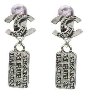 Chanel Chanel Silver CC Logo Rue Cambon Clip On Earrings