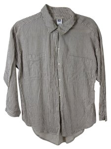 NSF Button Down Shirt grey and white