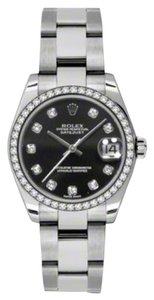 Rolex Rolex New Style Pre Owned Datejust Steel and White Gold Custom Black Diamond Dial 31mm