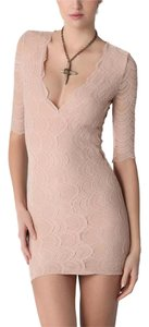 Nightcap Lace Sexy Nude Beige Stretch Dress