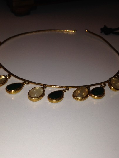 unknown Gold Vermeil collar with Green and pale Pink faceted stone drops