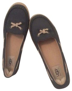 UGG Australia Rubber Soles Nubuck Leather Navy Blue Flats