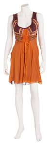 Alberta Ferretti short dress Orange Chiffon on Tradesy