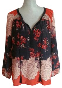 Anthropologie Floral Longsleeve Top Blue & Orange