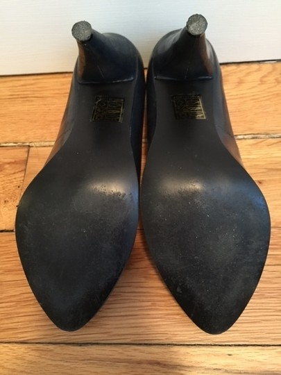 N.Y.L.A. Patent Leather Navy Almond Toe Midnight Blue Pumps