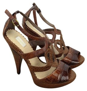 Nearly Nude Croc-embossed Platform Heels Bronze/Brown Sandals