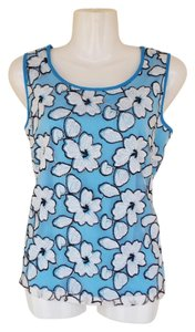 Joy & co Sleevless Lace Keyhole Top blue, white, black