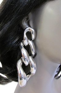 Other New Women Bling Long Shiny Silver Chunky Link Chains Earrings Set