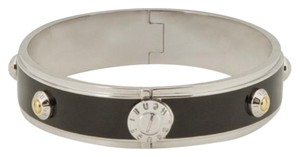 Henri Bendel Black and Silver Oval Rivet Bangel