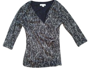 Coldwater Creek 3/4 Sleeves Wrap V-neck Sheer Top Black & White