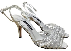 Caparros Metallic Silver Mya Braided Rhinestones Silver Metallic Sandals