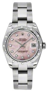 Rolex Rolex New Style Pre Owned Datejust Steel and White Gold Pink Mother of Pearl Diamond Dial 31mm