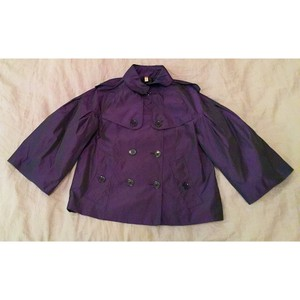 Burberry Cropped Raincoat Big Buttons Cape Trench Coat