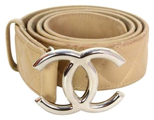 Chanel Chanel Beige Lambskin Leather Quilted CC Belt sz 90/36