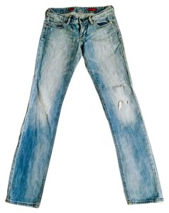 Express Distressed Straight Leg Jeans-Light Wash