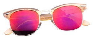 WearMe Pro Transparent Frame Tinted Color Lens Clubmaster Style Chic Retro Sunglasses - Clear Orange/Mirror Red