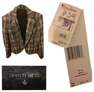 Lafayette 148 New York Classic Chanel Like Jackie O Black and white plaid tweed Blazer