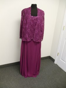 Karen Millen Cherry Pink Chiffon & Lace 96540 Traditional Bridesmaid/Mob Dress Size 24 (Plus 2x)