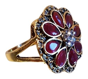 Other Bohemian Brass Copper Ruby Red Resin crystals Ring Size 6