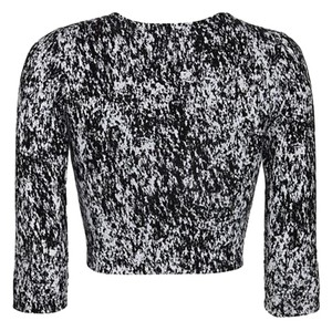 Nadia Tarr Modern Crop 3/4 Sleeve Top Black/White