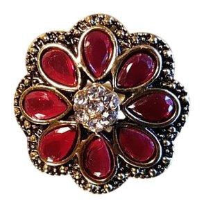 Bohemian Brass Copper Ruby Red Resin crystals Ring Size 6.5