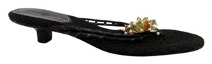 Cole Haan Floral Beaded Flip Flop Heels Black Pumps