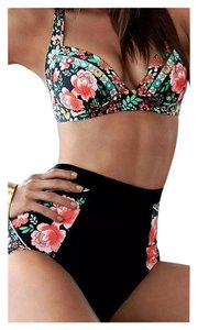New Black 2PC Floral Retro High Waisted Bikini Bathing Suit Tag SZ XL Fits 8-10