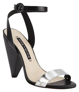 Alice + Olivia Colorblock Sculptural Heel Silver & Black Sandals